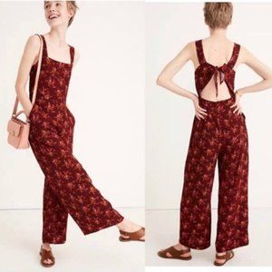 Madewell Floral Apron Bow-Back Jumpsuit